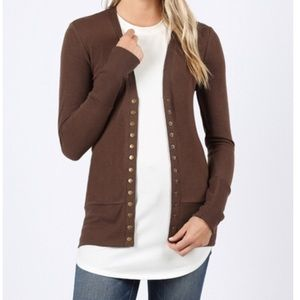 Zenana Snap Button Brown Cardigan Sweater New